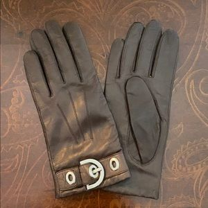 Coach Brown leather and cashmere gloves size 7.5